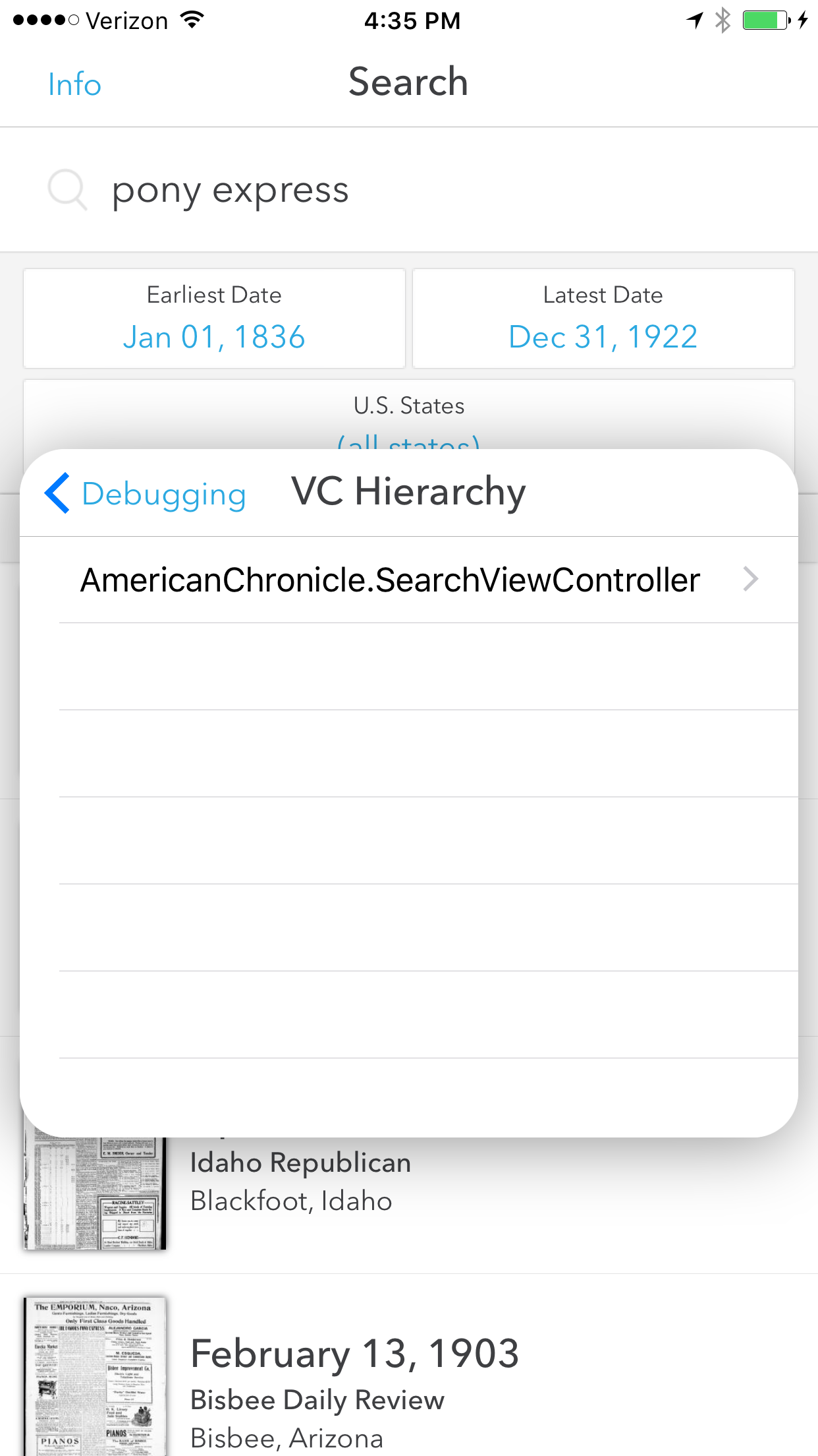 'VC Hierarchy' screen